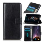 Crazy Horse Wallet Leather Shell with Stand Case for Xiaomi Mi 10 Ultra – Black