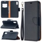 Litchi Skin with Wallet Leather with Stand Case for Xiaomi Redmi 9A – Black