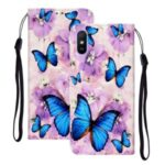 Embossed Patterned Wallet Stand Leather Phone Cover with Lanyard for Xiaomi Redmi 9A – Blue Butterflies
