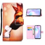 Leather Shell Fashion Printing Wallet Stand Case with Lanyard for Xiaomi Redmi 9A – Fox