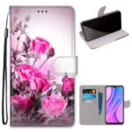 Cross Texture Printing Leather Cover with Strap for Xiaomi Redmi 9 – Flower