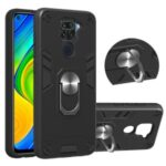 Plastic + TPU Detachable 2-in-1 Cover with Rotating Kickstand for Xiaomi Redmi Note 9/Redmi 10X 4G – Black