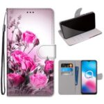 Pattern Printing Cross Texture Leather Wallet Phone Cover with Strap for Alcatel 3X (2020) – Rose