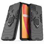 Cool Guard PC + TPU Hybrid Phone Case with Kickstand for Realme C15 – Black