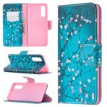 Pattern Printing Skin Magnetic Leather with Wallet Case for Oppo Find X2 Neo – Tree with Flowers
