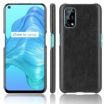 Litchi Texture PU Leather Coated Plastic Protector Cover for Realme V5 5G – Black