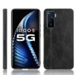 Hybrid Shell PU Leather Coated PC + TPU Phone Case for vivo iQOO 5 5G – Black