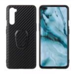 PC+TPU+PU Leather with Finger Ring Holder Cover for OnePlus Nord – Carbon Fiber Texture