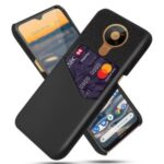 KSQ with Card Holder Cloth + PU Leather Coated PC Phone Cover for Nokia 5.3 – Black