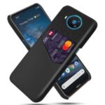 KSQ Card Holder Cloth + PU Leather Coated PC Back Cover for Nokia 8.3 5G – Black