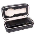 2 Grids Watch Storage Box Leather Zipper Portable Watch Case – Black