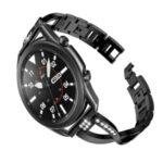 X-Shape Rhinestone Decor Stainless Steel Smart Watch Strap for Samsung Galaxy Watch3 45mm – Black