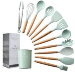 Green Silicone Utensils Set Spatula Soup Spoon Non-stick Shovel Oil Brush with Wood Handle Kitchen Tool – 11Pcs/Set