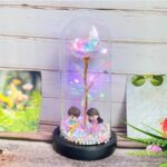 Glass Cover LED Simulation Rose Decoration Home Ornaments – Guitar Warm White Light