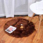 Round Fluffy Rug Shaggy Floor Mat Faux Fur Hairy Carpet – Coffee//Diameter: 80cm