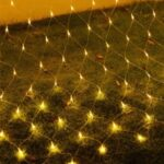 [1.5m x 1.5m] 96-LED Mesh Light String RGB Net Garland Lamp for Christmas New Year Wedding Holiday Party Decoration – Yellow/US Plug