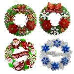 35cm Xmas Flower Garland Christmas Tree Wreath Hanging Pendant – Random Color