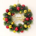Xmas Garland 30cm/40cm/50cm Merry Christmas Tree Wreath Wall Door Hanging Pendant-Red – gold/40cm – Red-gold//40cm