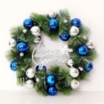 Xmas Garland 30cm/40cm/50cm Merry Christmas Tree Wreath Wall Door Hanging Pendant-Blue – white/30cm – Blue-white//30cm