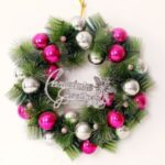 Xmas Garland 30cm/40cm/50cm Merry Christmas Tree Wreath Wall Door Hanging Pendant-Rose – white/30cm – Rose-white//30cm