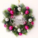 Xmas Garland 30cm/40cm/50cm Merry Christmas Tree Wreath Wall Door Hanging Pendant-Rose – white/40cm – Rose-white//40cm