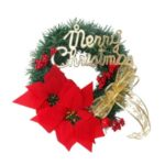 Merry Christmas Tree Wreath Xmas Red Flower Garland for Shopping Mall Hotel Decor – 40cm