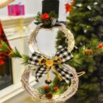 Christmas Wreath LED String Lights Snowman Christmas Garland Rattan Door Xmas Tree Decoration-Black – Black/White