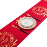 Bronzing Christmas Table Runner Exquisite Pattern Holiday Party Tablecloth Xmas Home Decoration – Red/Gold Wreath