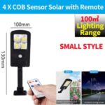 LED Solar Street Light 3 Modes Remote Garden Lamp IP67 Waterproof Motion Sensor Outdoor Lighting – S Size/with Remote