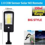 LED Solar Street Light 3 Modes Remote Garden Lamp IP67 Waterproof Motion Sensor Outdoor Lighting – L Size/1 COB
