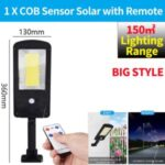 LED Solar Street Light 3 Modes Remote Garden Lamp IP67 Waterproof Motion Sensor Outdoor Lighting – L Size/1 COB with Remote