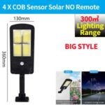 LED Solar Street Light 3 Modes Remote Garden Lamp IP67 Waterproof Motion Sensor Outdoor Lighting – L Size/4 COB