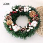 30cm/40cm/50cm Christmas Tree Wreath Simulation Cotton Pine Cone Xmas Garland Decoration – 30cm