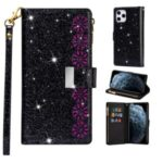 Glittery Starry Style Laser Carving Leather Shell for iPhone 12 Pro Max 6.7 inch – Black
