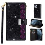 Glittery Starry Zipper Wallet Stand Leather Cover for iPhone 12 5.4 inch – Black