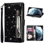 Flash Powder Zipper Pocket Wallet Flip Leather Phone Case with Strap for iPhone 12 Max/12 Pro – Black