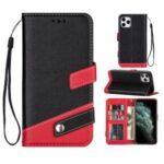 Litchi Texture PU Leather Shell (Contrast Color) for iPhone 12 Pro Max 6.7 inch – Black