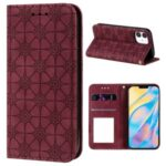Imprint Flower Skin Auto-absorbed Case with Card Slots for iPhone 12 5.4 inch – Wine Red