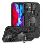Armor Guard Protector Kickstand TPU+PC Detachable Shell with Metal Sheet for iPhone 12 Max/Pro 6.1 inch – Black