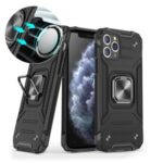 Armor Style Ring Kickstand Detachable TPU + PC Hybrid Cover with Metal Sheet for iPhone 11 Pro 5.8 inch – Black