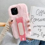 Solid Color Handy Strap Fur Coated TPU Phone Cover for iPhone 12 5.4 inch – Pink