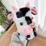 Cows Style Fur Coated TPU Phone Case for iPhone 12 Mini – Black