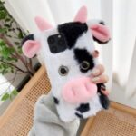 Cows Style Fur Coated TPU Phone Case for iPhone 12 – Black