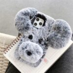 Dog Style Fur Coated TPU Phone Cover for iPhone 12 – Grey
