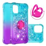Shockproof Gradient Quicksand TPU Case with Kickstand for iPhone 12 mini Cover – Cyan / Purple