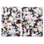 Flower Cloth Skin Wallet PU Leather Tablet Cover for iPad Air (2020) – Black
