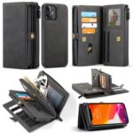 CASEME 018 Series Multiple Card Slots Detachable 2 in 1 Leather Case for iPhone 12 mini – Black