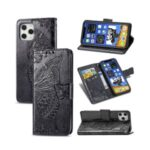 ENKAY PUC019 Imprint Butterfly Flower TPU Leather Case with Wallet Stand for iPhone 12 Pro / 12 – Black