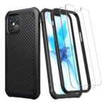 Textured Thicken TPU Phone Case for iPhone 12 Pro/12 with 2Pcs Tempered Glass Screen Protector