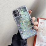 Rhinestone Decor Gradient Glitter Powder Quicksand TPU Shell for iPhone 12 mini – Grey / White